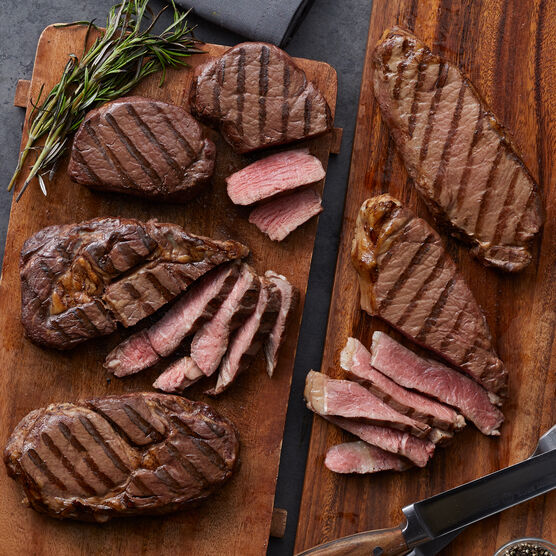 This complete Steak Assortment includes filets, New York strip steaks, and boneless ribeye steaks
