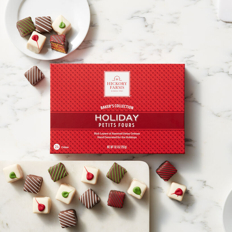 Expertly baked in the traditional Swiss style and filled with layers of the richest crème, these Petit Fours are an indulgence.