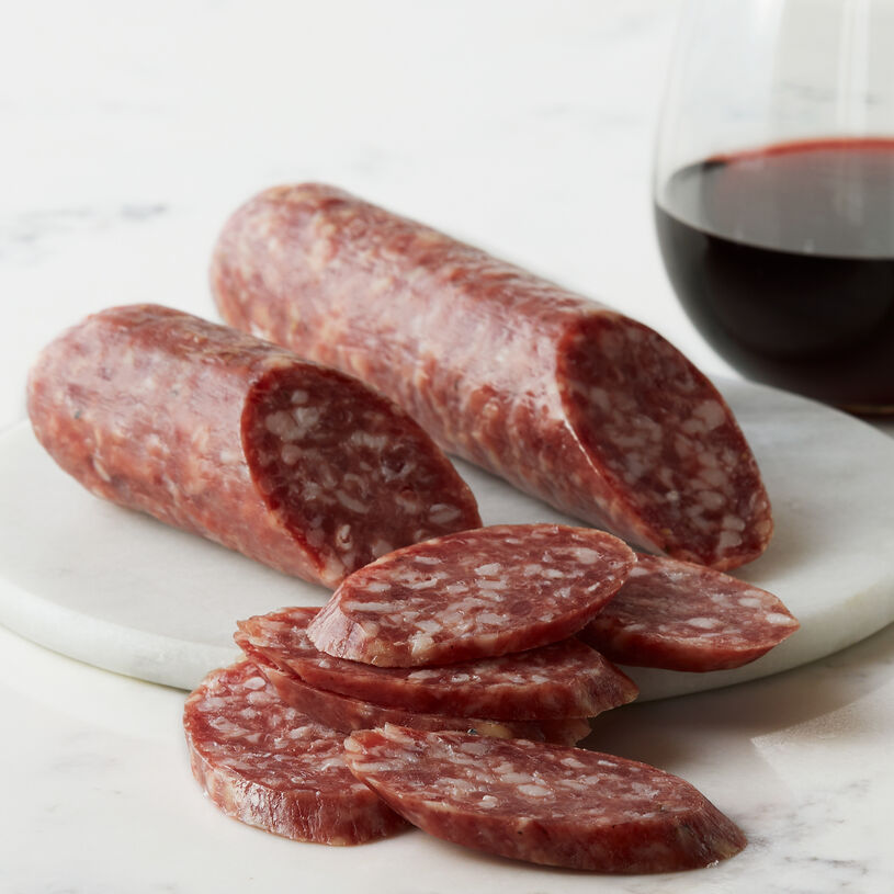 Inspired by Italian recipes, this flavorful salami is handcrafted from select cuts of pork and flavored with the perfect amount of red wine.