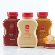 Signature Mustard Flight includes cranberry, honey & pineapple, and sweet hot mustard.