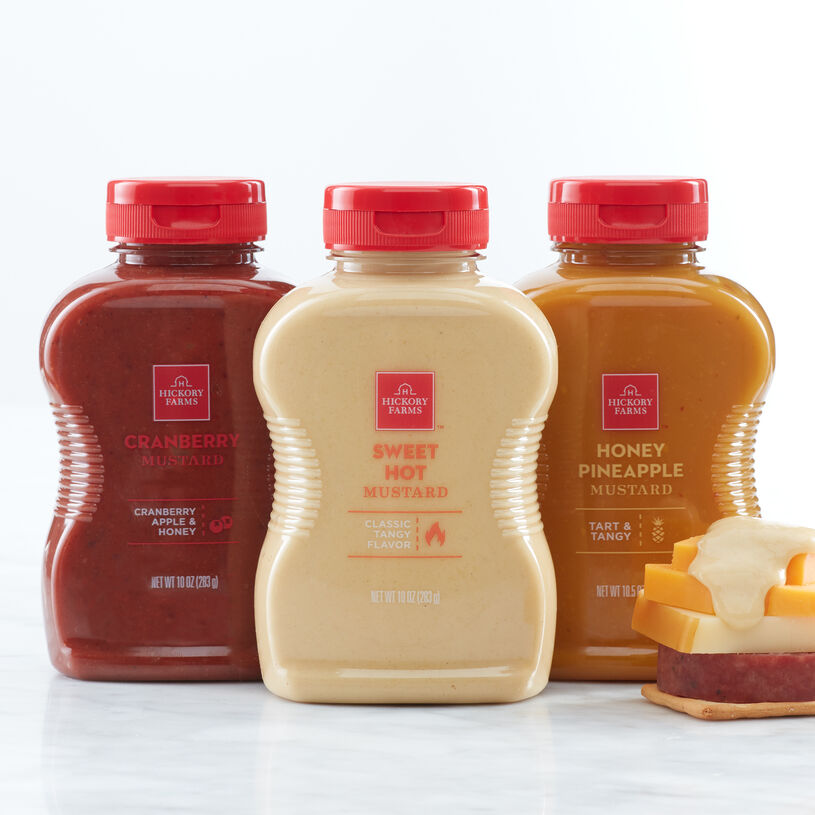 Signature Mustard Flight includes cranberry, honey & pineapple, and sweet hot mustard.
