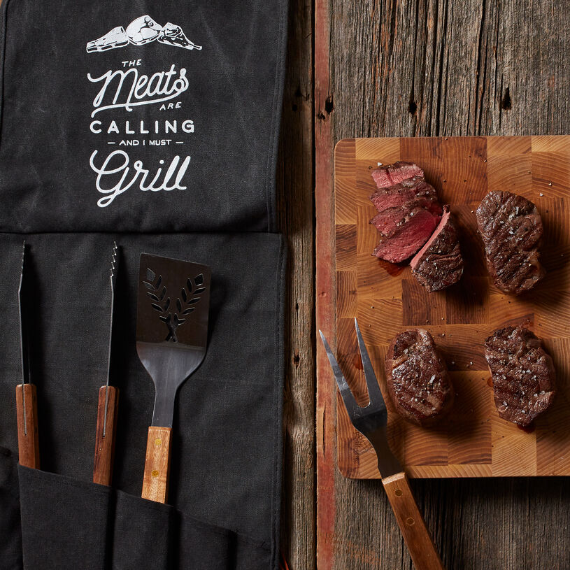 This gift set includes four of our tender and juicy 6 oz Filets, plus sturdy tools he'll love getting his hands on. Tool Set includes tongs, fork, and spatula with bottle openers.