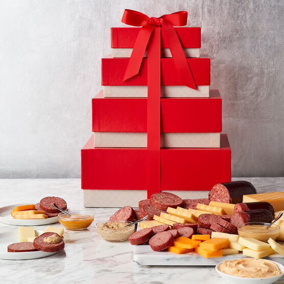 Gourmet Meat & Cheese Gift Tower Stacked