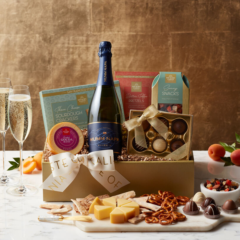 Mumm Napa Cuvée M is deliciously paired with well-loved Hickory Farms Smoked Gouda Blend and California snacks and treats.