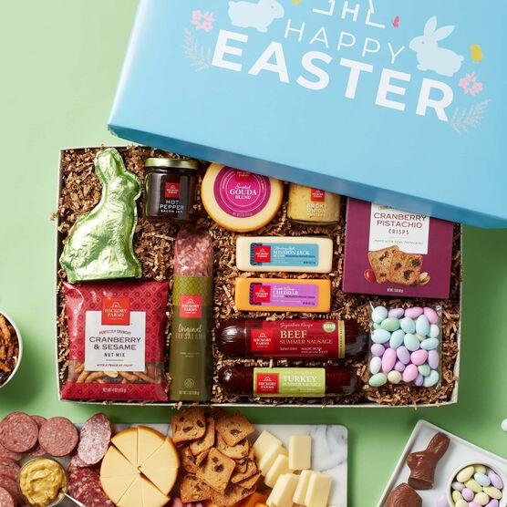 Easter Premium Charcuterie and Sweets Gift Box On Green Backdrop