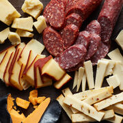 Alternate View of The Grand Charcuterie Cheese Gift Crate includes dry salami, cheese, and crackers