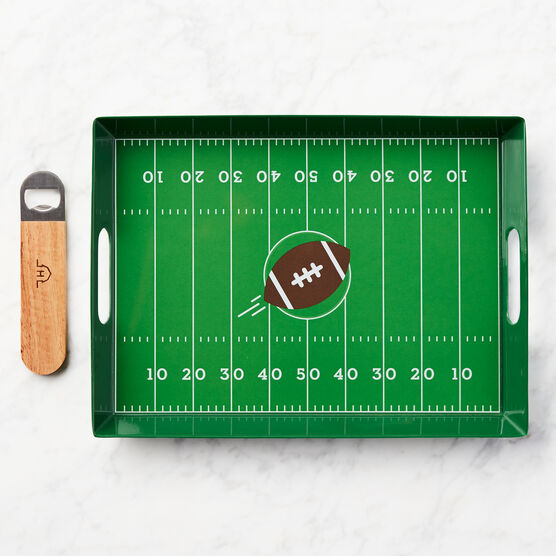 Game Day Entertaining Gift Set Football Field Tray and Bottle Opener
