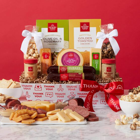Premium Thank You Snacks Gift Basket Red Backdrop