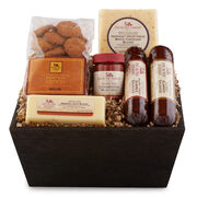 This gift basket is filled with harvest flavors like Brown Sugar & Honey and Savory Turkey Summer Sausages, Cranberry Mustard, and Mission Jack Blend and Harvest Vegetable White Cheddar Blend, and pumpkin cookies for a sweet and spiced treat.