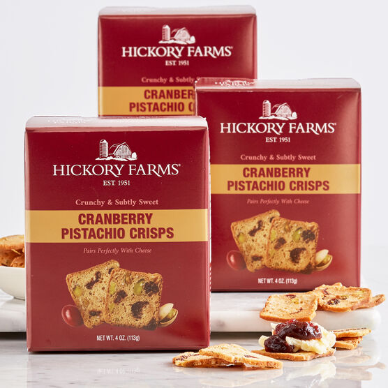 Crafted with real cranberries and pistachios, these crispy crackers are the perfect blend of sweet and salty.