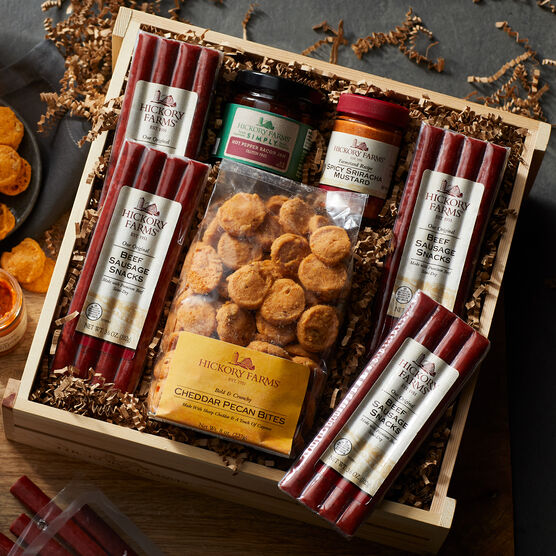 This Father's Day Crate is filled with beef sticks, Spicy Sriracha Mustard, smoky Hot Pepper Bacon Jam, and crunchy Cheddar Pecan Bites that have a hint of spice.