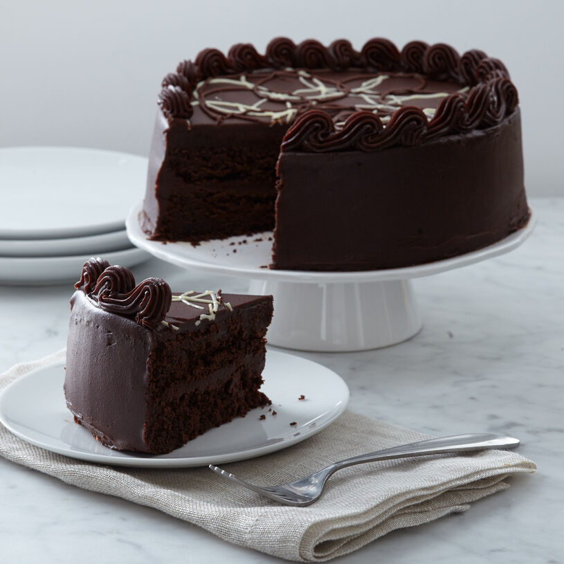 intense chocolate fudge layer cake