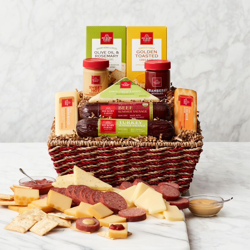 This basket includes Signature Beef and Sweet & Smoky Turkey Summer Sausages, and a variety of cheese, mustard, and crackers