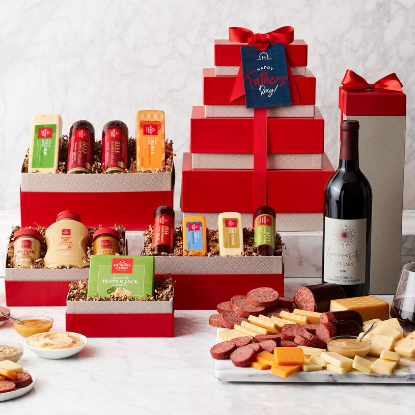 Father's Day Gourmet Meat & Cheese Gift Tower with Wine