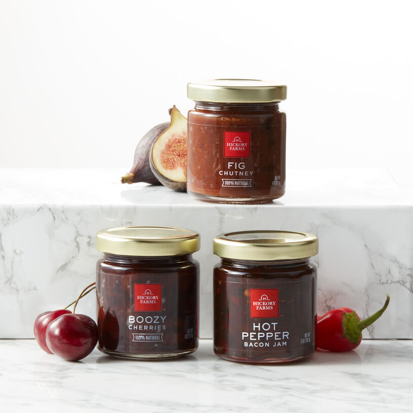 Fig Chutney, Boozy Cherries, and Hot Pepper Bacon Jam