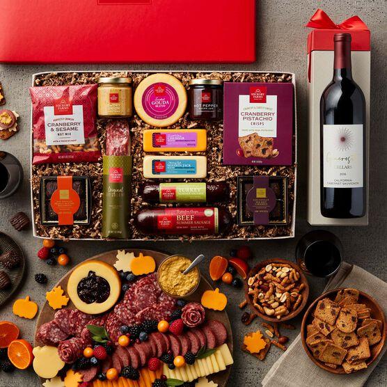 Premium Charcuterie & Chocolate Gift Box with Wine - Charcuterie Spread