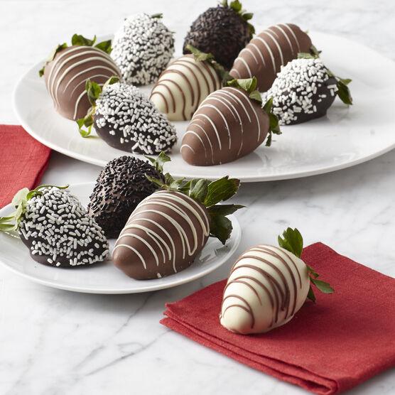 12 chocolate dipped strawberries with sprinkles