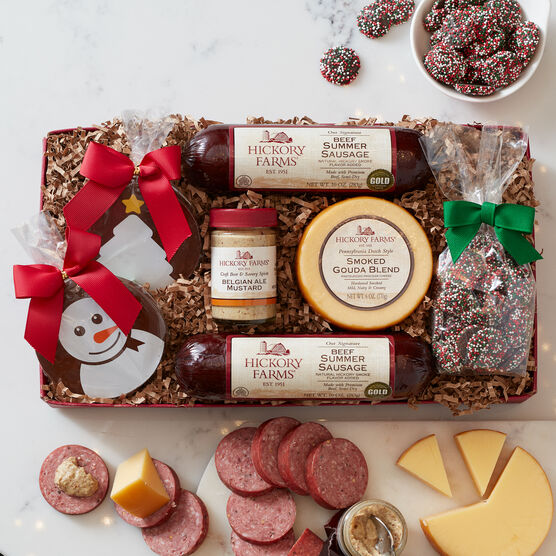 Signature Beef Summer Sausage, Smoked Gouda, Belgian Ale Mustard, and Golden Toasted Crackers are a savory addition to any gathering or a thoughtful gift.