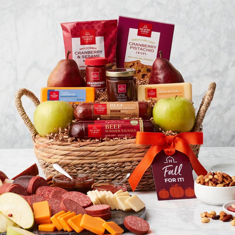This fall gift basket features our Beef Summer Sausages, cheese, mustard, Fig Chutney, crackers, and seasonal pears & apples.