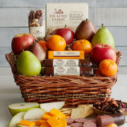 The fresh fruit lover on your gift list will appreciate this basket filled with fruit, sausage, cheese, and nuts.