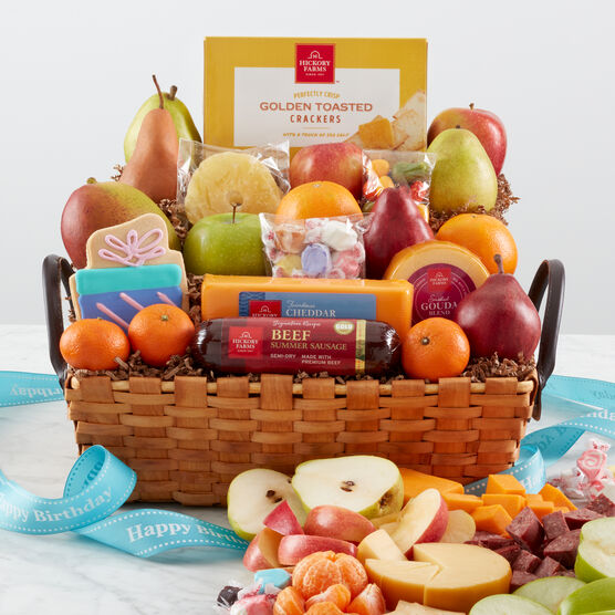 Happy Birthday Gift Basket With A Variety Of Fruit Summer Sausage Cheese And