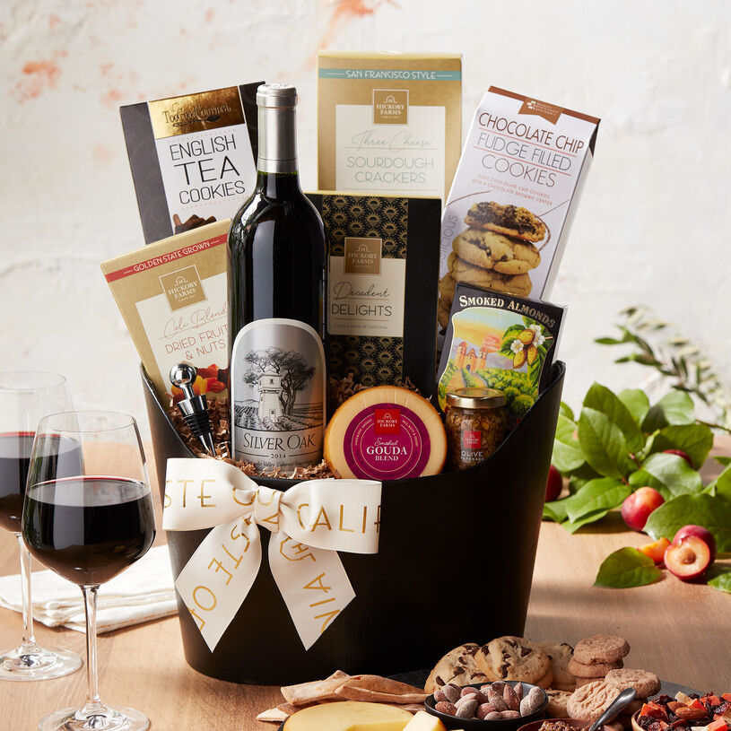 The famed Silver Oak Alexander Valley Cabernet Sauvignon is vinted in Sonoma County and pairs wonderfully with the flavors in this gift.