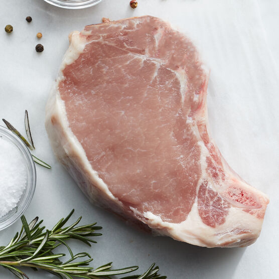 Alternate View of Duroc 12 oz. Dry-Aged Pork Chops. Ships frozen and raw
