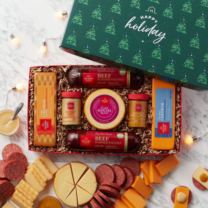 This gift box is filled with beef summer sausage, cheese, mustard, and is topped off with a Happy Holidays lid.