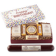 Birthday confetti box is filled with our party size Signature Beef Summer Sausage, Smoked Gouda, Smoked Cheddar, Jalapeno & Cheddar Blend, Farmhouse Cheddar, Mission Jack Blend, and Golden Toasted Crackers.