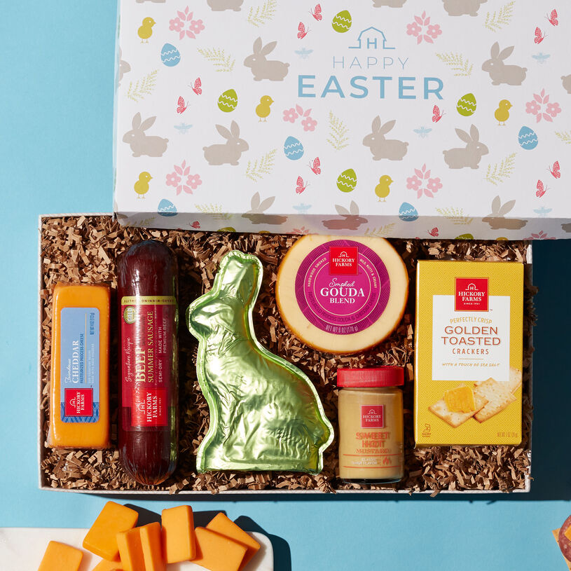 This bright Easter gift box is filled with our Signature Beef Summer Sausage, Smoked Gouda Blend, Farmhouse Cheddar, Sweet Hot Mustard, Golden Toasted Crackers, plus a Chocolate Bunny.