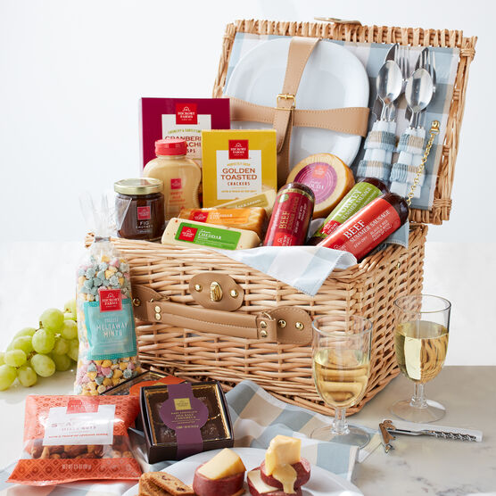 The Grand Picnic Gift Basket includes everything you need for the perfect picnic at the park.
