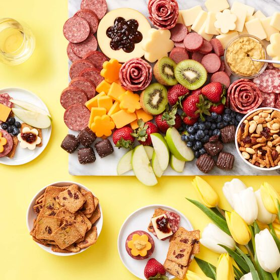Spring Charcuterie & Chocolate Gift Box with Wine Charcuterie Spread
