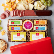 Cheese Favorites Party Sausage Gift Set includes 26 oz. beef summer sausage, a variety of cheese, and golden toasted crackers