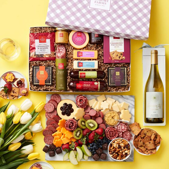 Spring Charcuterie & Chocolate Gift Box with Wine Charcuterie on Yellow Background
