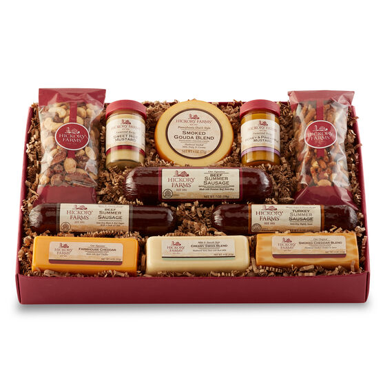 Signature Party Planner Gift Box for the Holidays includes various sausage, cheeses, and nuts