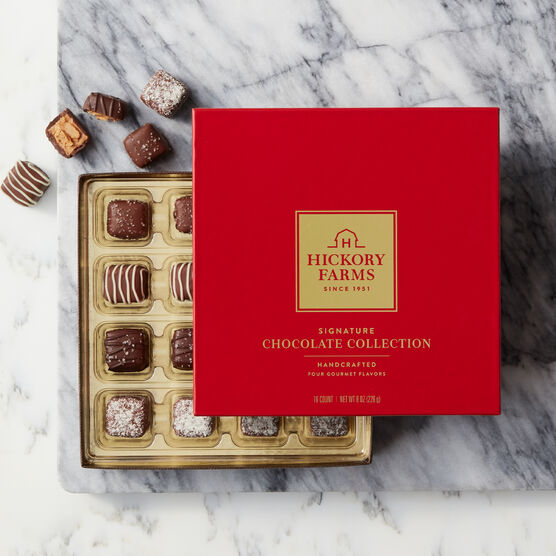 The Deluxe Valentine's Day Gift Basket includes our Signature Chocolates