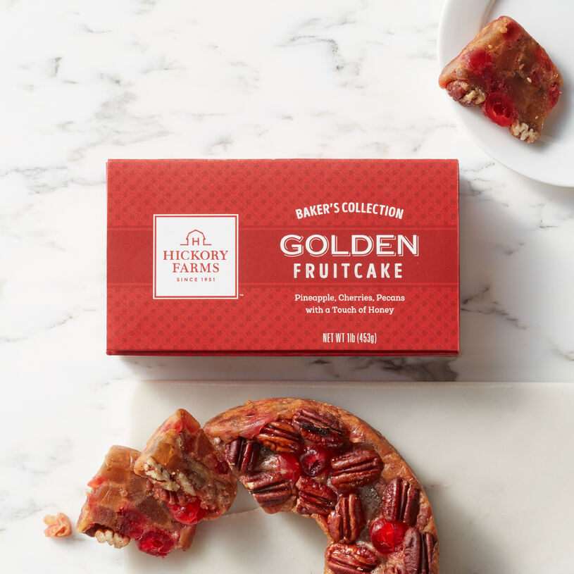 Golden Fruitcake packed with ingredients like sweet candied pineapple, cherries, and crunchy pecans.