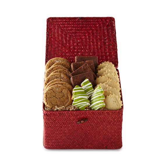 Winter Bake Shop Holiday Basket includes cookies, brownies, and shortbread