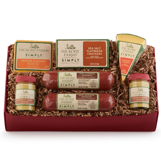 simply holiday gift box includes all natural summer sausage, mustard, cheeses, and crackers