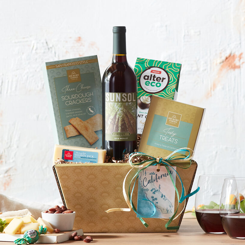 This wine gift set is a delicious way to sample unique California snacks and sweets.