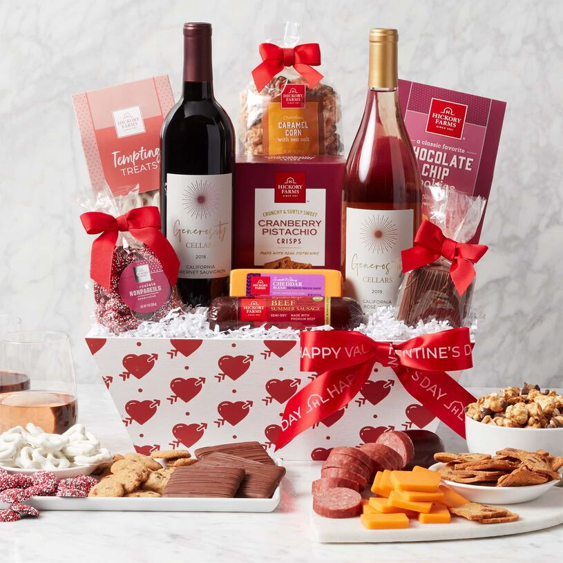 Valentine's Day Premium Treats & Wine Gift Basket - Heart Basket with Contents