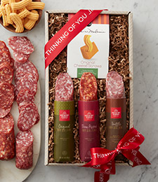 gift crate with wine, artisan salami, and artisan cheeses