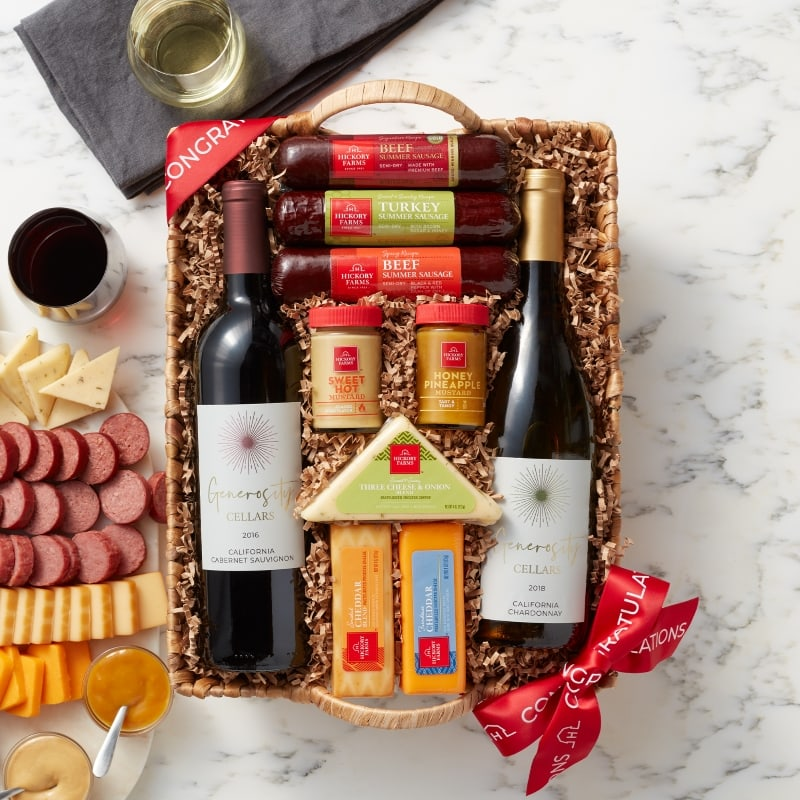 Congratulations Hearty Bites & Wine Gift Basket