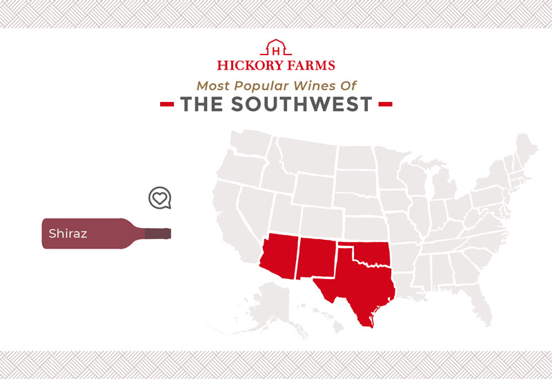 A graphic of a map that focuses on the most popular wines in the Southwest region of the United States, including Shiraz