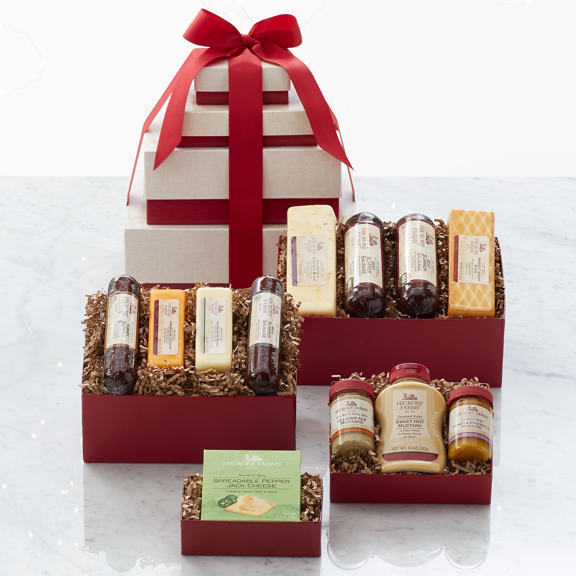 new product gift guide - Hickory Farms Gourmet Meat & Cheese Tower