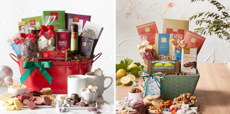 Guide to Holiday Business Gift Ideas - Happy Holidays Gift Basket and California Signature Snack Sampler