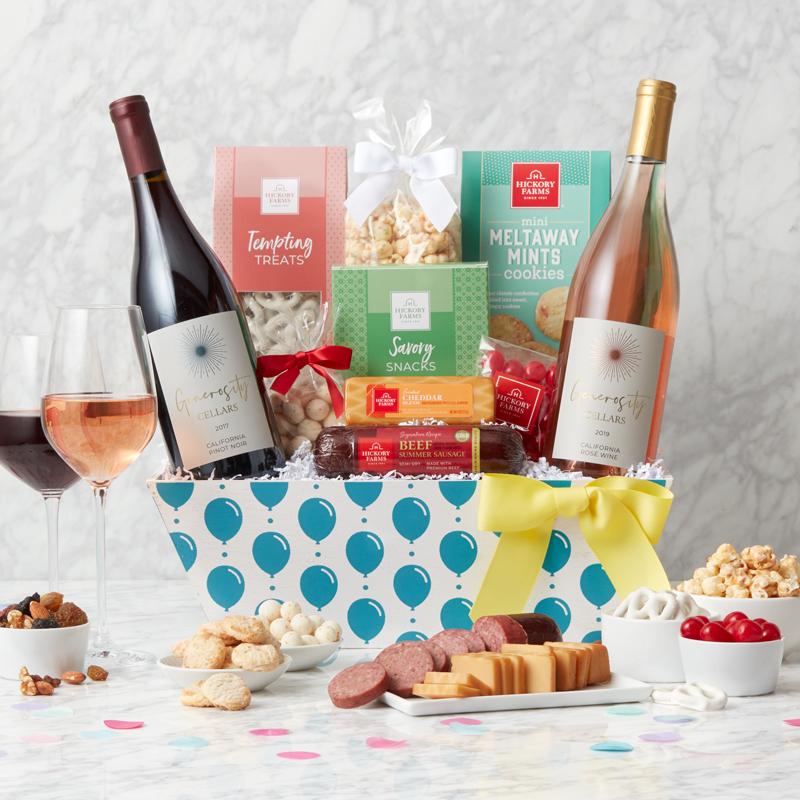 Birthday Premium Treats & Wine Gift Basket