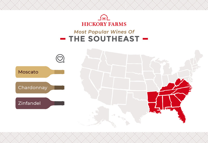 A graphic of a map that focuses on the most popular wines in the Southeast region of the United States, including Moscato, Chardonnay, and Zinfandel