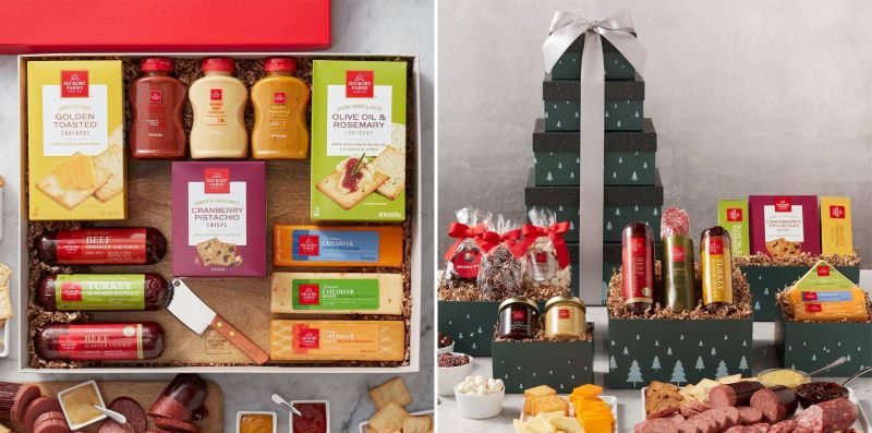 Guide to Holiday Business Gift Ideas - Deluxe Signature Charcuterie Gift Box and Grand Winter Wishes Gift Tower