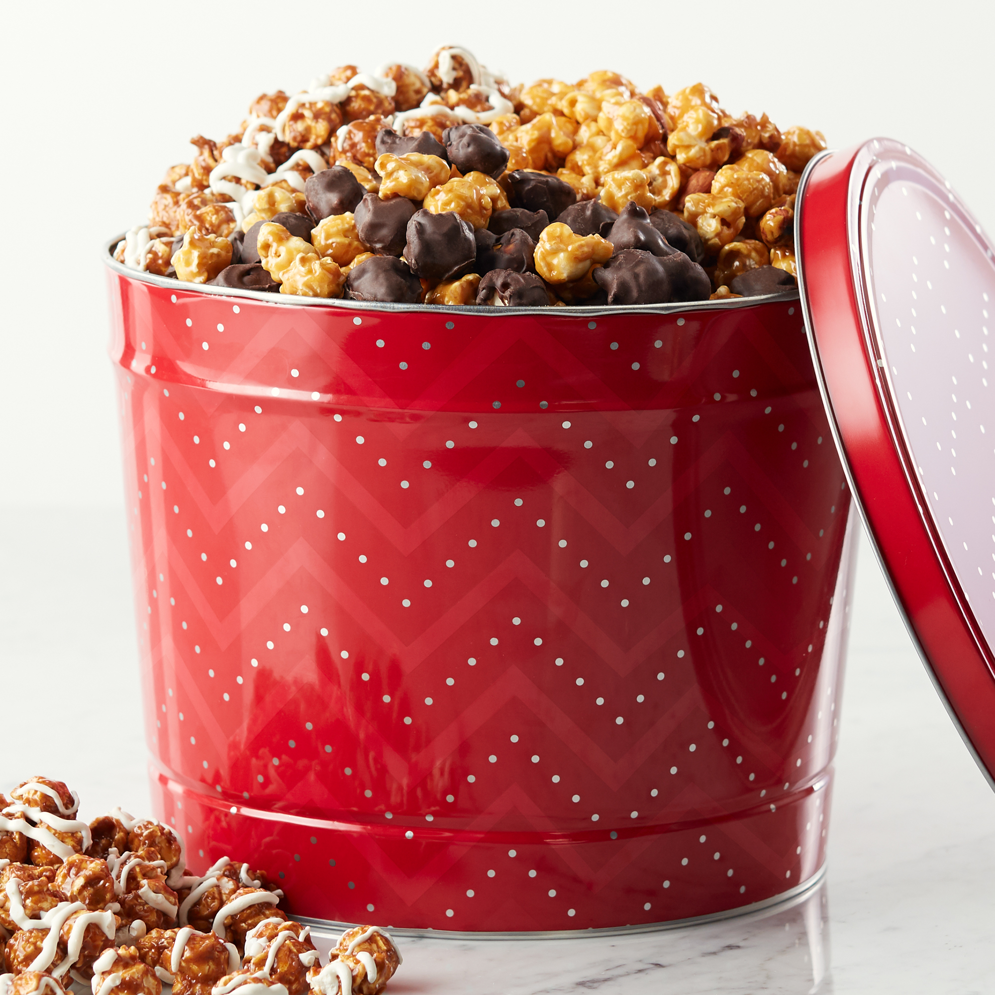 new product gift guide - Hickory Farms Holiday Deluxe Popcorn Tin